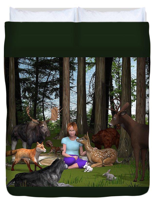 3d Duvet Cover featuring the digital art Forest Rendezvous by Jennifer Schwab