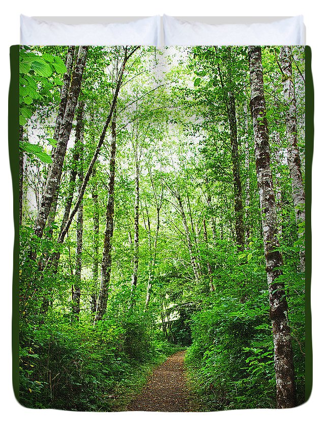 Forest Trail To Follow Duvet Cover featuring the photograph Forest Trail To Follow by Tom Janca