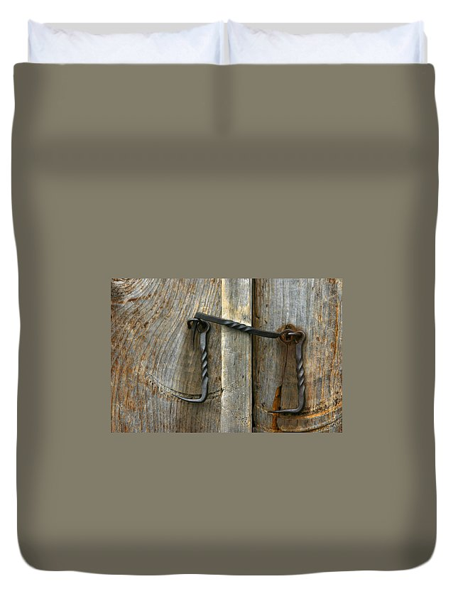 Forged Locks Duvet Cover featuring the photograph Forged Locks by Denyse Duhaime