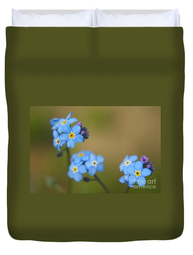 Blue Duvet Cover featuring the photograph Forget Me Not 01 - S01r by Variance Collections