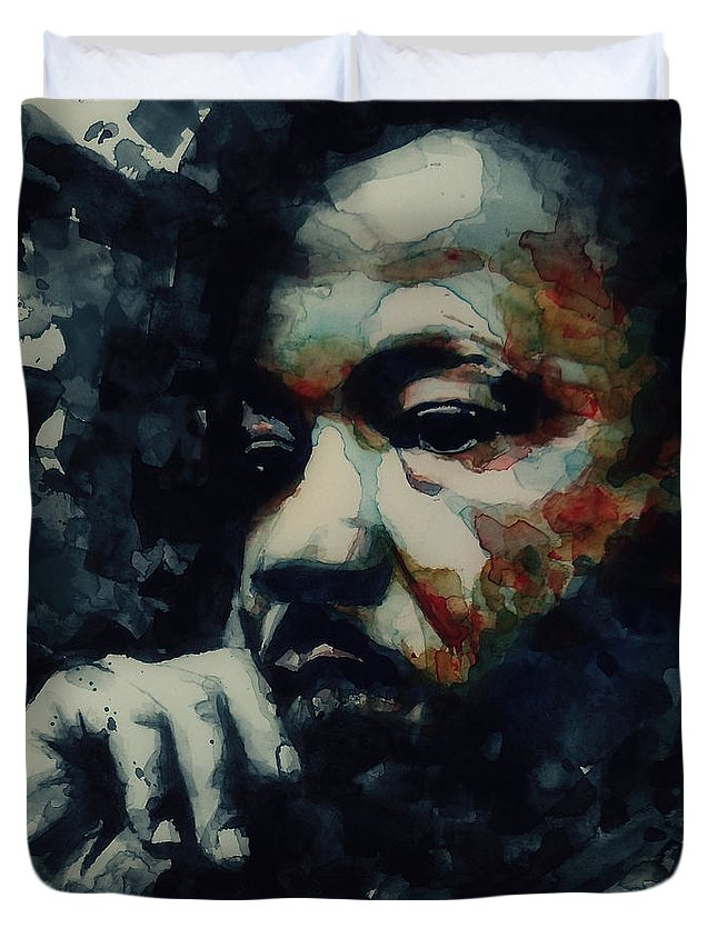 Martin Luther King Jr Duvet Cover featuring the painting Martin Luther King -Forgiveness Is Not An Occasional Act It Is A Constant Attitude by Paul Lovering