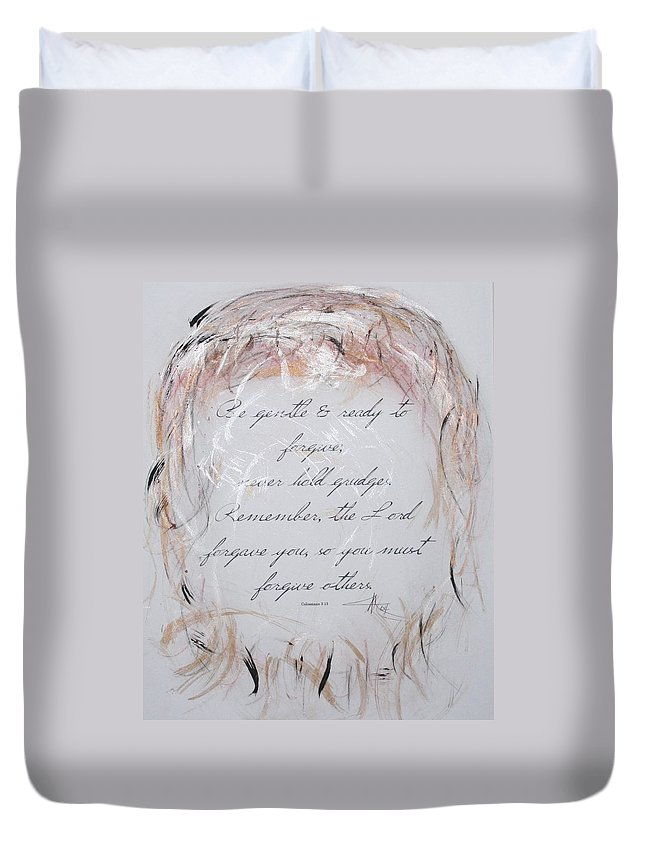 Christian Duvet Cover featuring the painting Forgiveness by Marian Palucci-Lonzetta