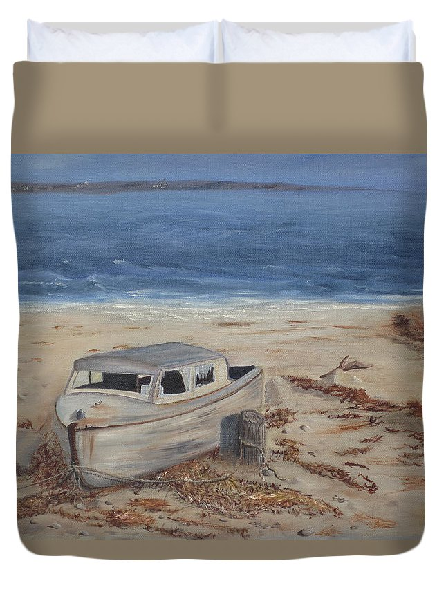 Boat Duvet Cover featuring the painting Forgotten by Barbara McDevitt
