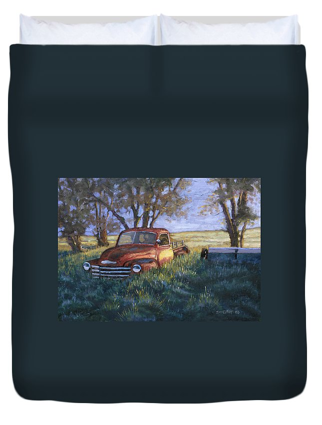 Pickup Truck Duvet Cover featuring the painting Forgotten But Still Good by Jerry McElroy