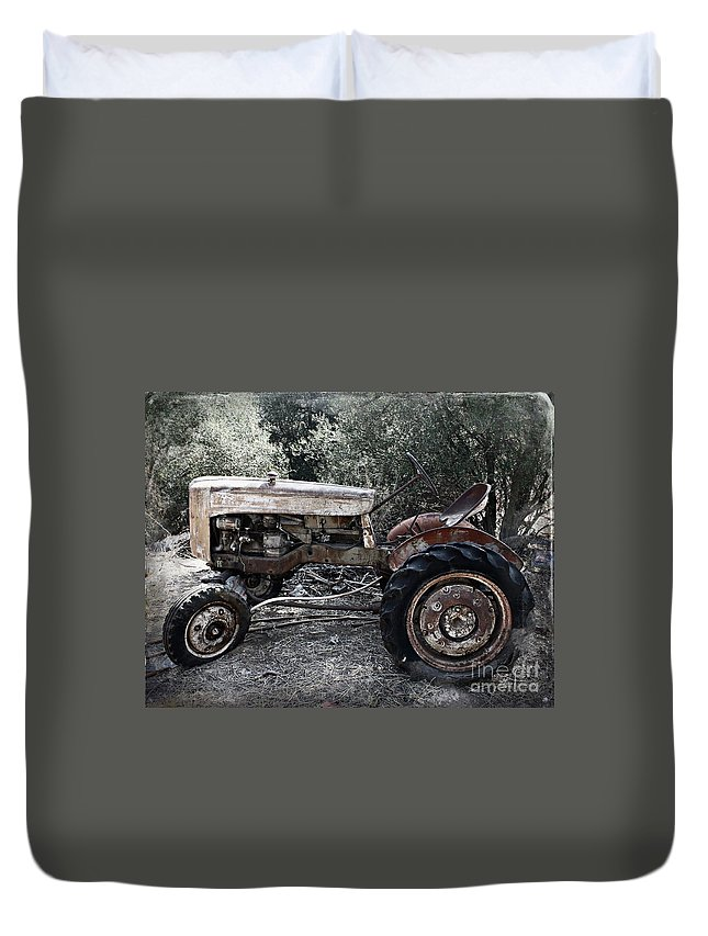 Tractor Duvet Cover featuring the photograph Forgotten by Clare Bevan