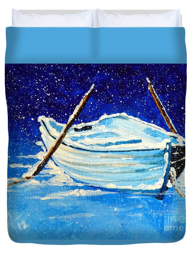 Row Duvet Cover featuring the painting Forgotten Rowboat by Jackie Carpenter