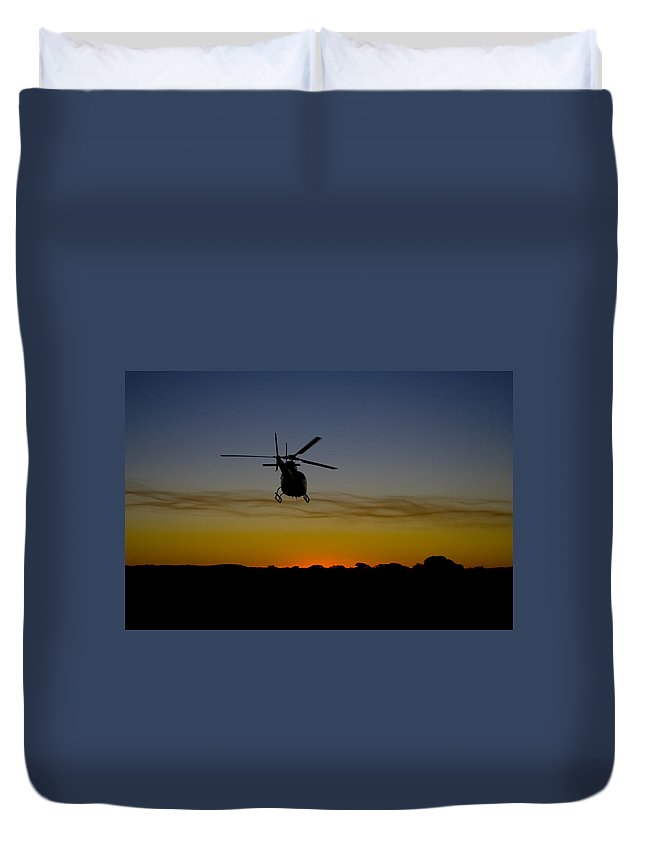 Helicopter Duvet Cover featuring the photograph Forgotten by Paul Job