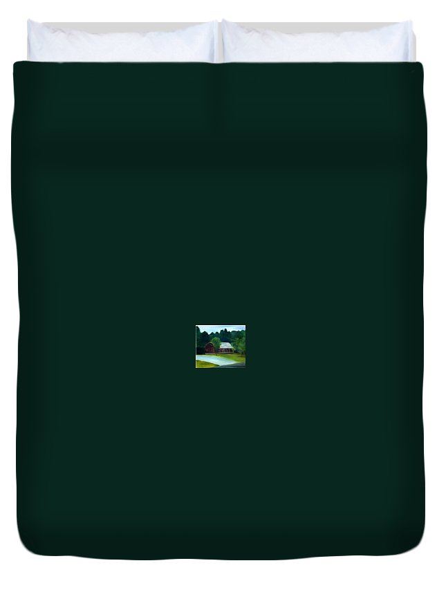 Upstate Duvet Cover featuring the painting Forrest's House by Sheila Mashaw