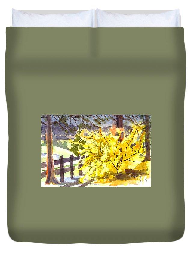 Forsythia In Springtime Duvet Cover featuring the painting Forsythia In Springtime by Kip DeVore