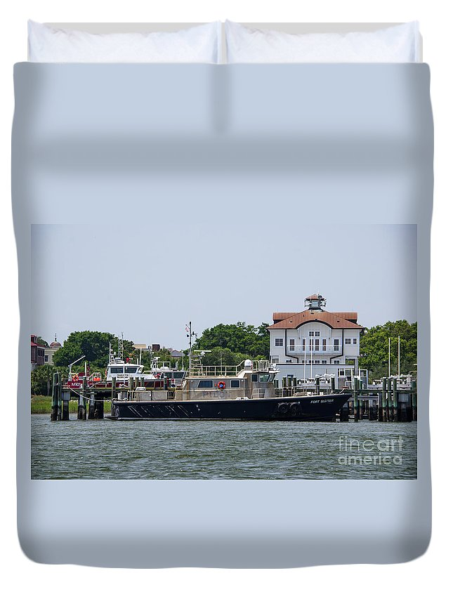 Fort Sumter Pilot Boat Duvet Cover featuring the photograph Fort Sumter Pilot Boat by Dale Powell