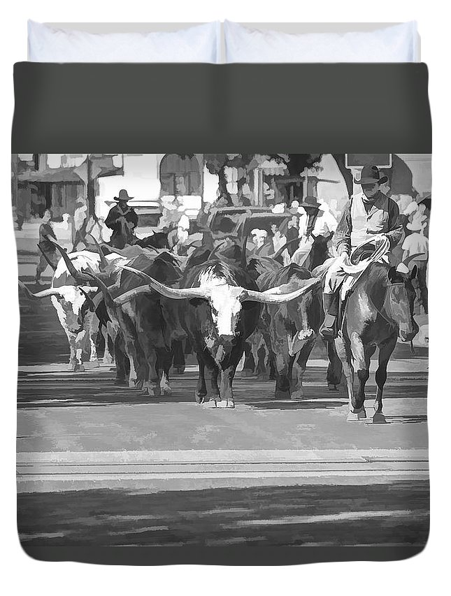 Fort Worth Duvet Cover featuring the photograph Fort Worth Herd Cattle Drive by Jonathan Davison