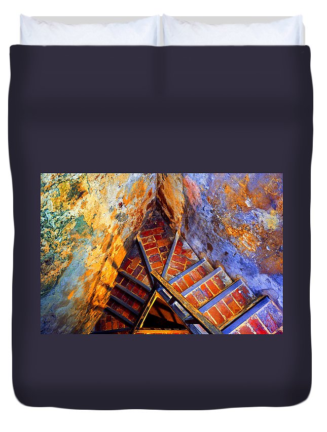 Stairs Duvet Cover featuring the photograph Fortress Steps by Stephen Anderson