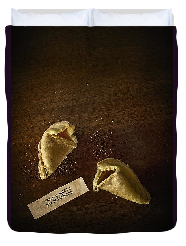 Fortune; Cookie; Fortune Cookie; Proverb; Chinese; Food; Broke; Broken; Paper; Table; Dessert; Treat; Love; Affection; Prediction; Predict; Chance; Crumbs; Print; Printed; Paper; Fun; Hope; Desire; Words Duvet Cover featuring the photograph Fortune by Margie Hurwich