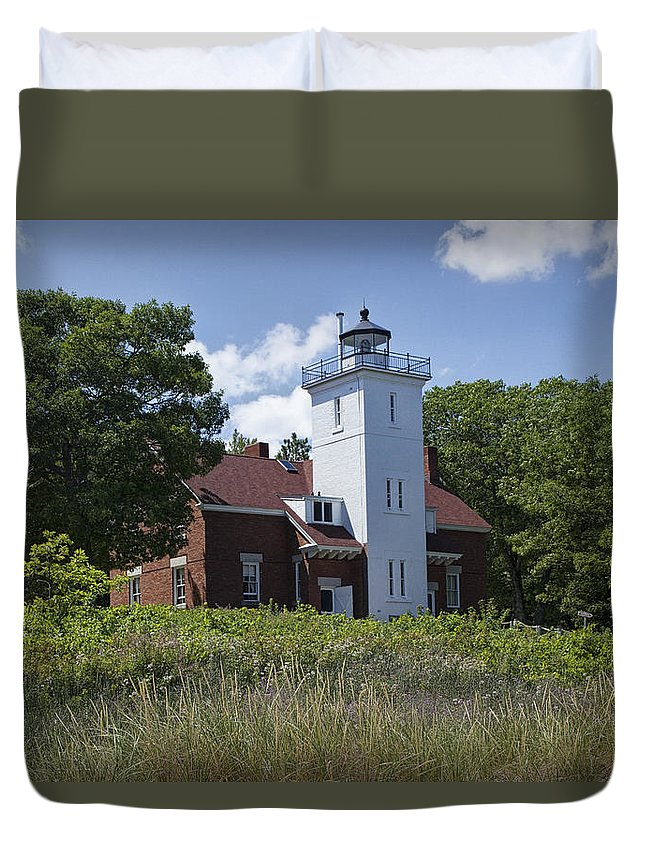 Art Duvet Cover featuring the photograph Forty Mile Point Lighthouse In Michigan Number 450 by Randall Nyhof