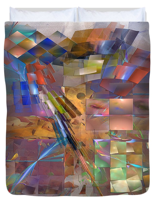 Eyes Duvet Cover featuring the digital art Four Eyes - Square Version by John Beck