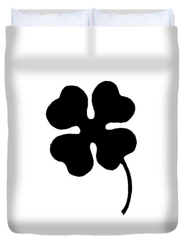 Clover Duvet Cover featuring the painting Four-leaf Clover by Granger