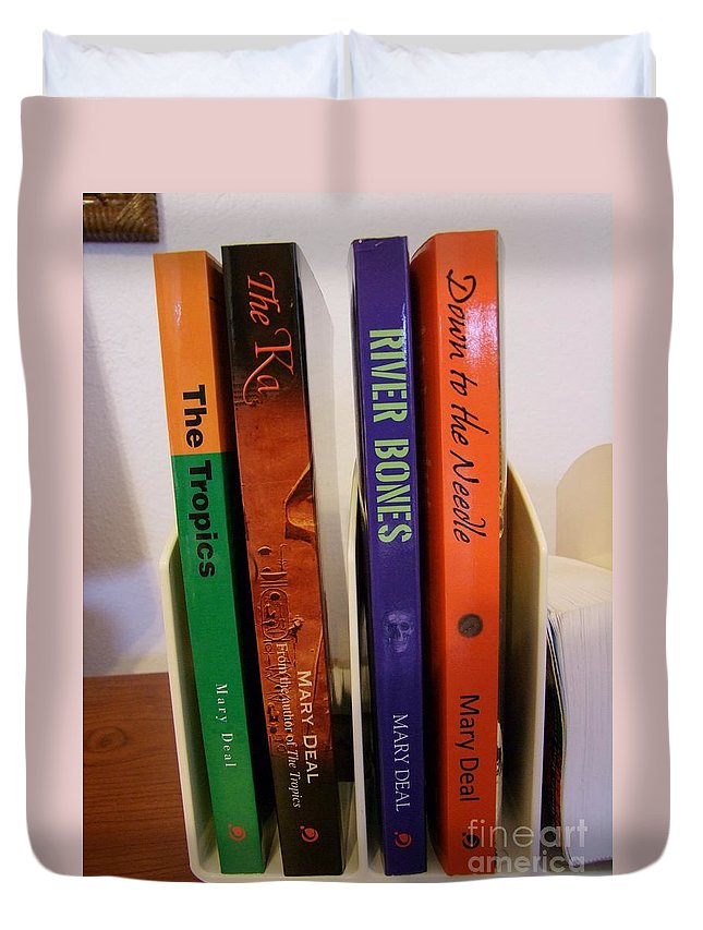Books Duvet Cover featuring the photograph Four Of My Ten Books Published by Mary Deal