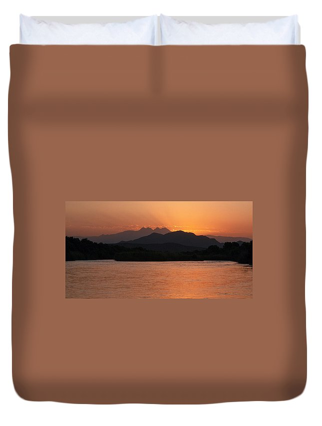 Sunrise Duvet Cover featuring the photograph Four Peaks Sunrise by Tam Ryan