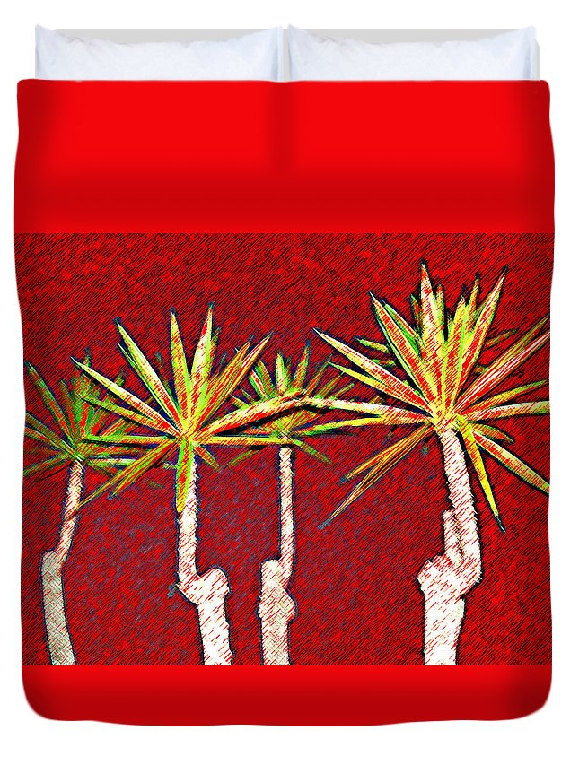 Plants Duvet Cover featuring the photograph Four Yuccas In Red by Andre Aleksis