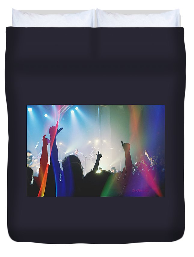 Crowd Duvet Cover featuring the photograph Fractal Beings 3-who Let The Show Go On by Ericamaxine Price