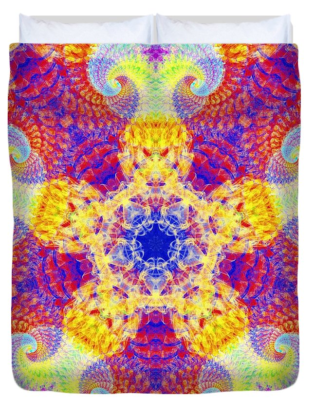 Fractal Corridors Duvet Cover featuring the digital art Fractal Corridors by Derek Gedney