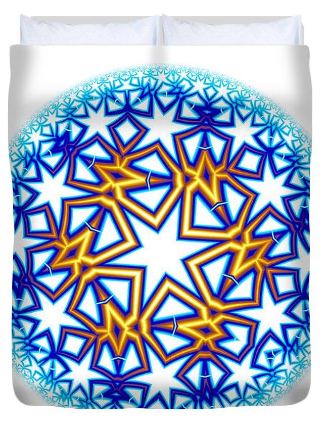 Mandala Duvet Cover featuring the digital art Fractal Escheresque Winter Mandala 2 by Hakon Soreide