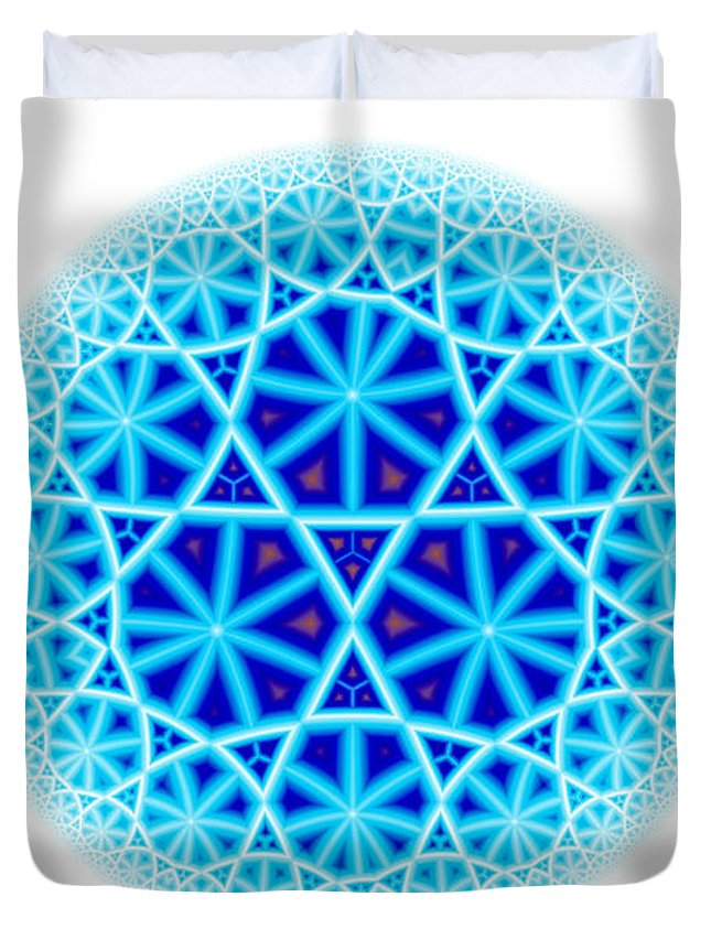 Mandala Duvet Cover featuring the digital art Fractal Escheresque Winter Mandala 4 by Hakon Soreide