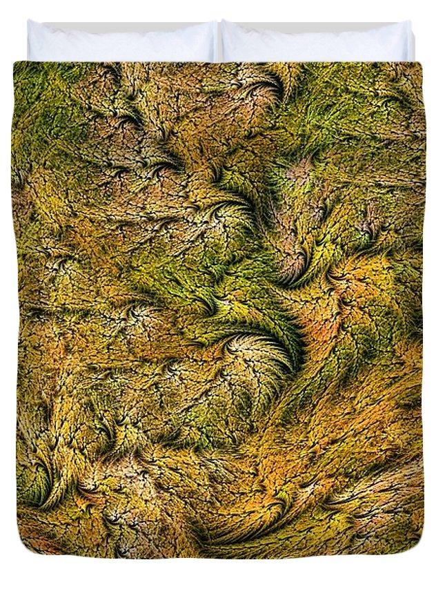 Leaves Duvet Cover featuring the digital art Fractal Leaf Mat-- 2 by Doug Morgan