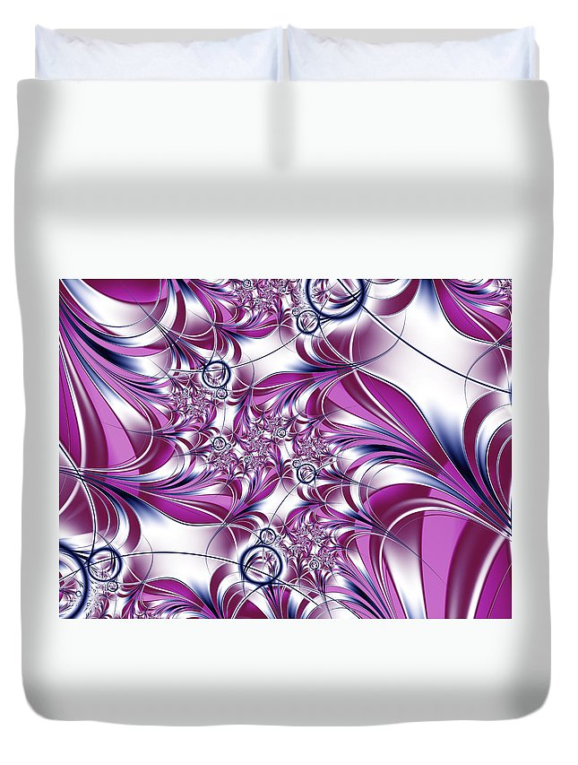 Fractal Duvet Cover featuring the digital art Fractal Pink Plant by Gabiw Art