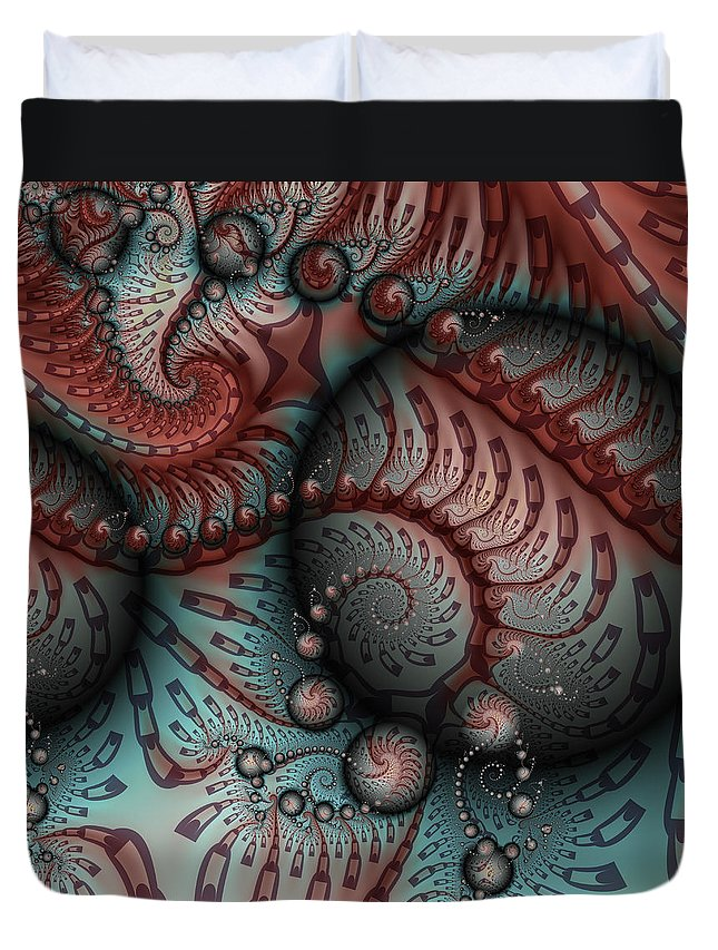 Digital Art Duvet Cover featuring the digital art Fractal Somewhere 2 by Gabiw Art
