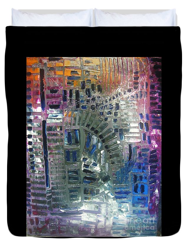 Duvet Cover featuring the painting Fracture by Michael Kulick