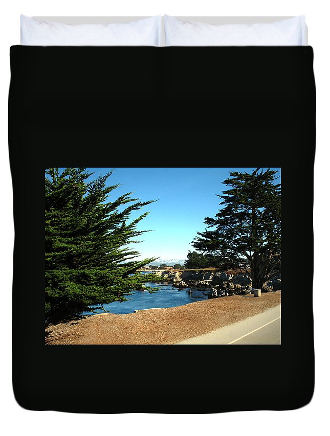 Cypress Trees Duvet Cover featuring the photograph Framed By Cypress Trees by Joyce Dickens