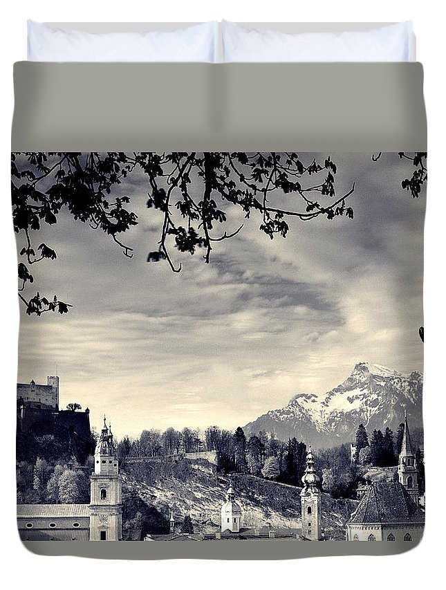 Salzburg Duvet Cover featuring the photograph Framed View Of Salzburg From Kapuzinerberg by Greg Matchick