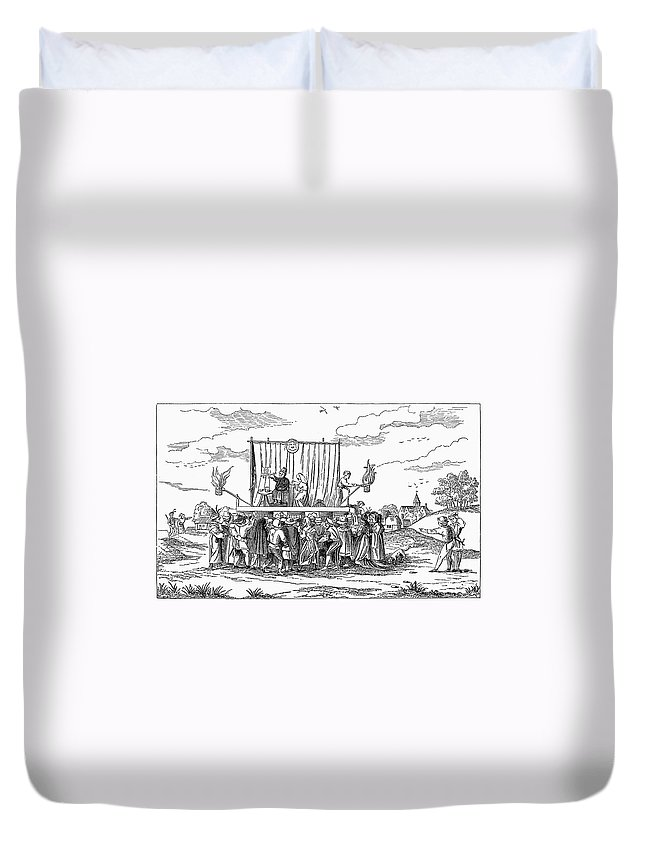1542 Duvet Cover featuring the photograph France: Charlatan, 1542 by Granger