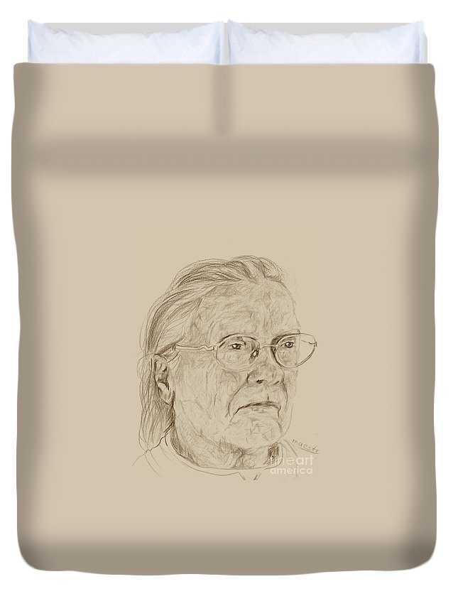 Memory Care Duvet Cover featuring the drawing Frances by PainterArtist FIN