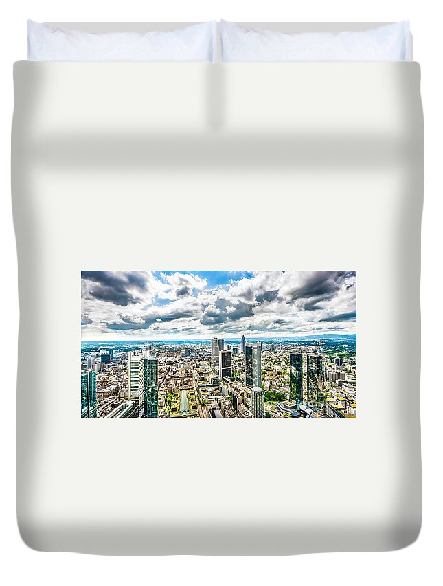 Frankfurt Duvet Cover featuring the photograph Frankfurt Skyline Panorama by JR Photography