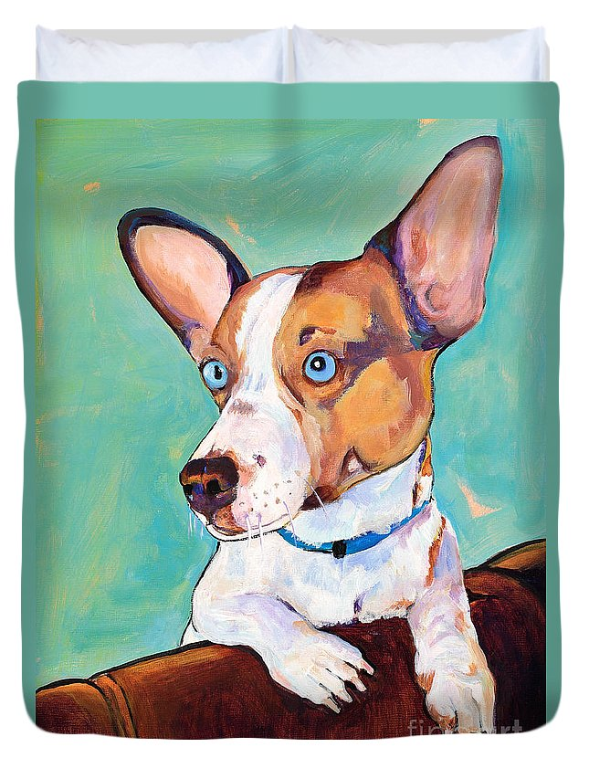 Pat Saunders-white Duvet Cover featuring the painting Frankie by Pat Saunders-White