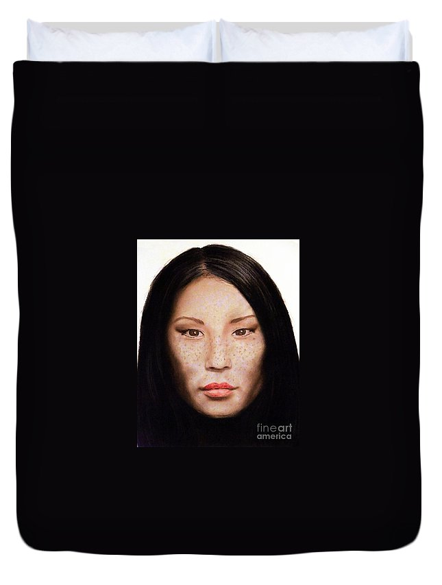 Drawing Duvet Cover featuring the drawing Freckle Faced Beauty Lucy Liu IIi by Jim Fitzpatrick