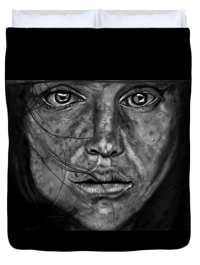 Freckles Duvet Cover featuring the drawing Freckles by Herbert Renard
