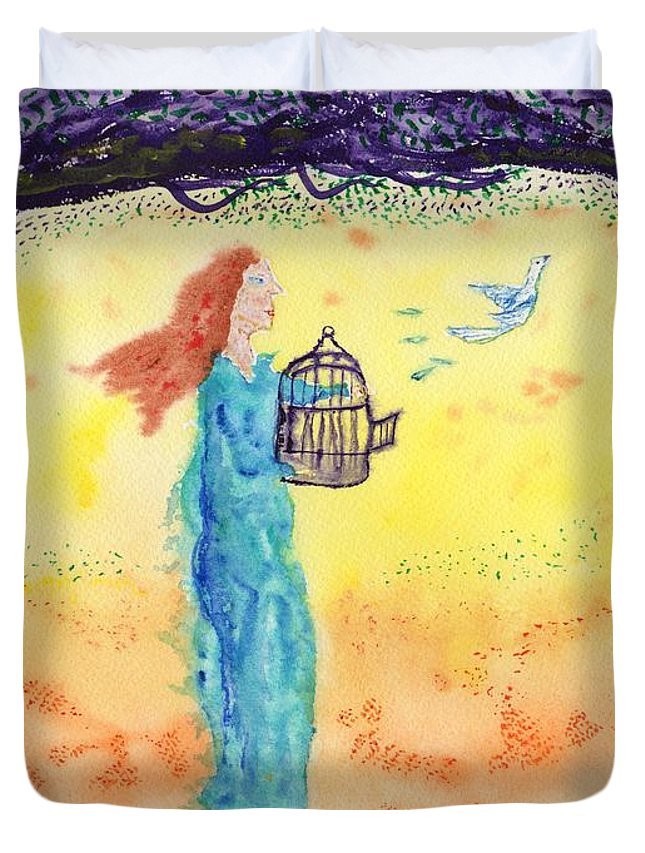 Jim Taylor Duvet Cover featuring the painting Free Bird by Jim Taylor