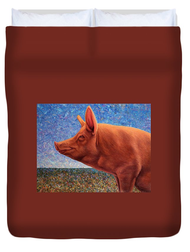 Pig Duvet Cover featuring the painting Free Range Pig by James W Johnson