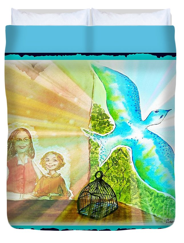 Dream Duvet Cover featuring the painting Free Spirit Dreamscape - Within Border by Leanne Seymour