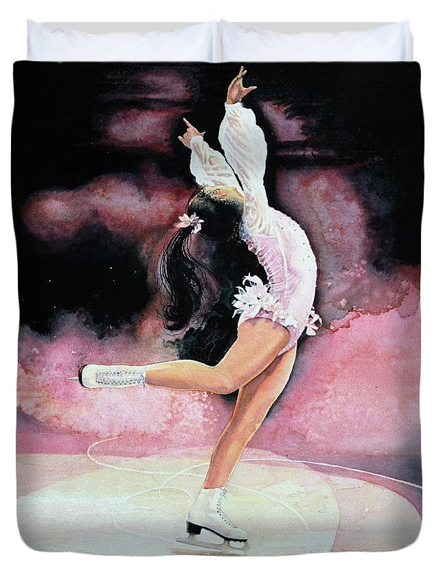 Skating Duvet Cover featuring the painting Free Spirit by Hanne Lore Koehler
