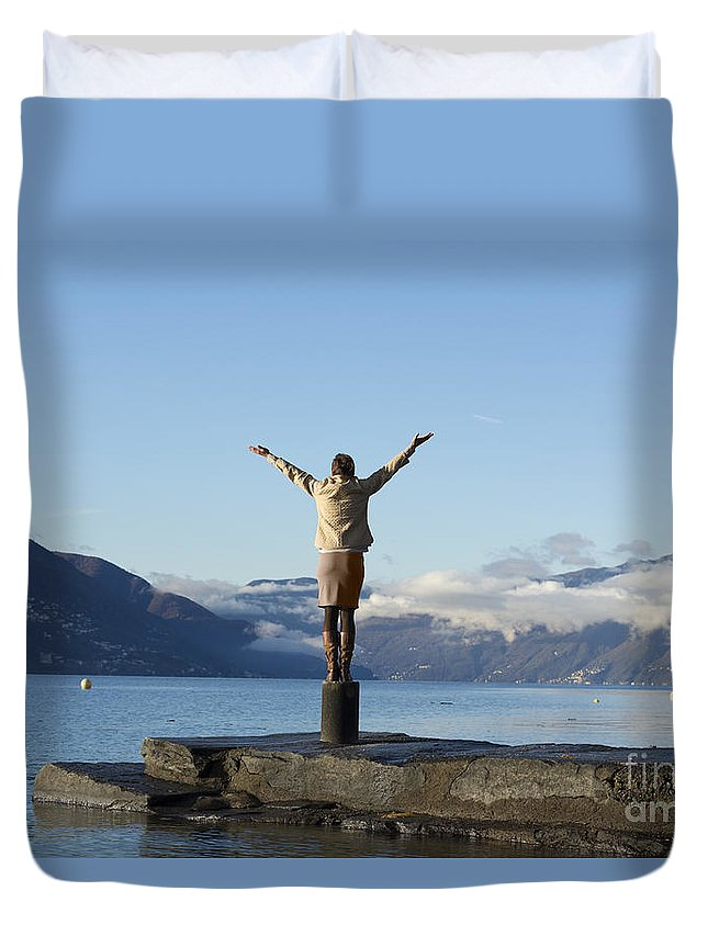 Lago Maggiore Duvet Cover featuring the photograph Freedom by Mats Silvan