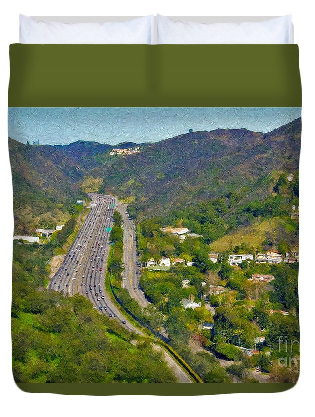 L-405 Sepulveda Pass Traffic Bel Air Crest California Duvet Cover featuring the photograph Freeway Sepulveda Pass Traffic Bel Air Crest California by David Zanzinger