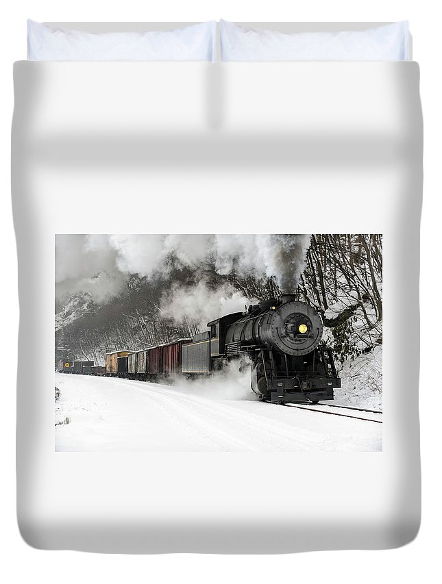 Scenics Duvet Cover featuring the photograph Freight Train With Steam Locomotive by Catnap72