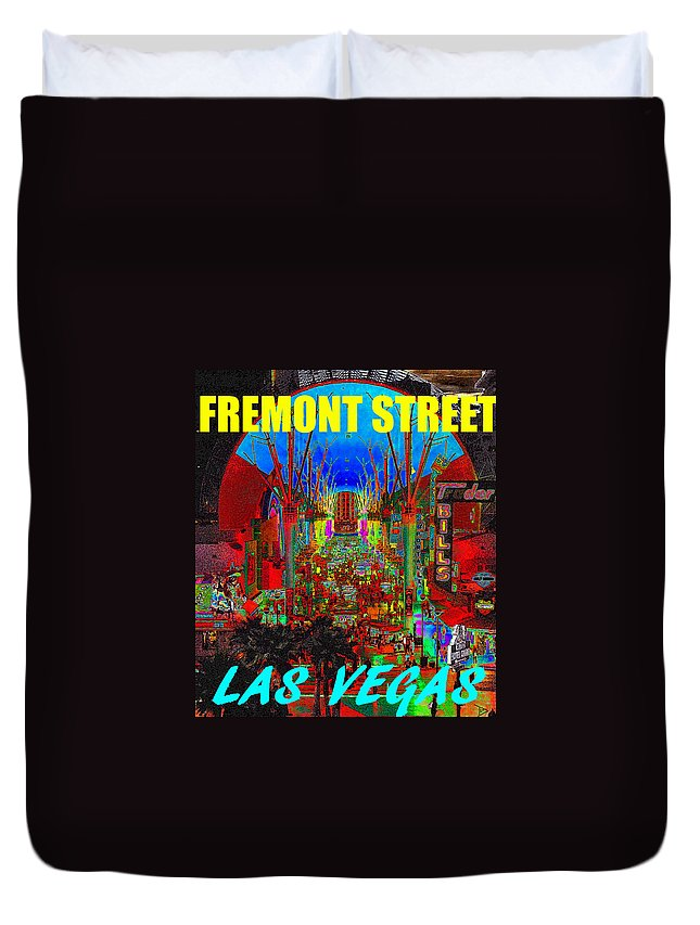 Fremont Street Las Vegas Nevada Duvet Cover featuring the painting Fremont Street Poster Work C by David Lee Thompson