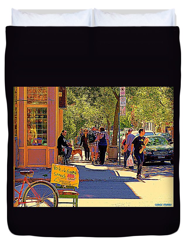 Montreal Duvet Cover featuring the painting French Bread On Laurier Street Montreal Cafe Scene Sunny Corner With Vente De Garage Sign by Carole Spandau