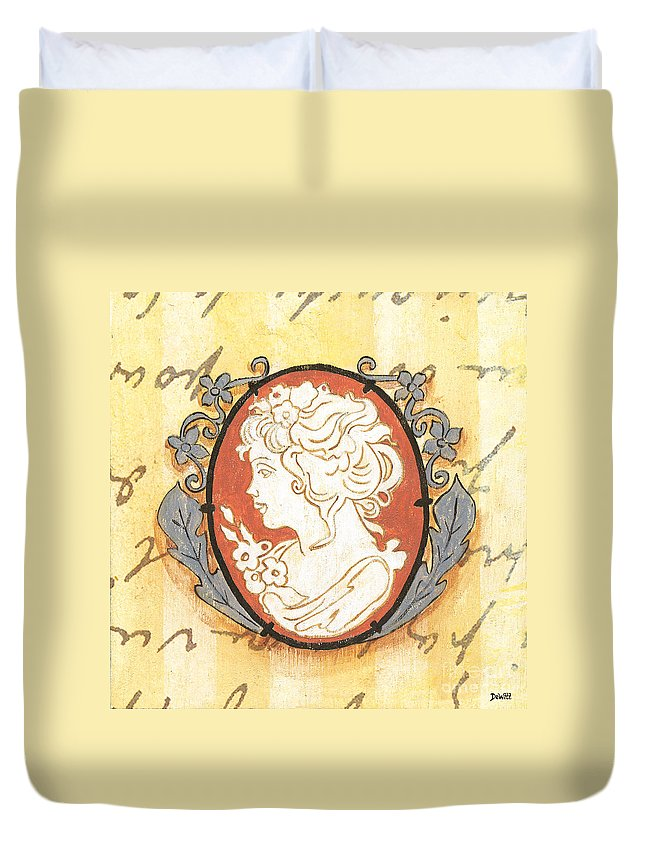 Cameo Duvet Cover featuring the painting French Cameo 2 by Debbie DeWitt