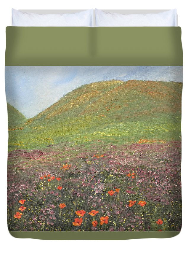 Landscape Duvet Cover featuring the painting French Countryside by Barbara McDevitt